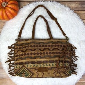 Lucky Brand Aztec Boho West Fringe Tote Bag Purse
